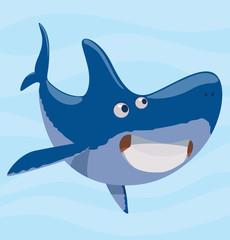 Vector image of cartoon funny pleased blue shark on a light blue sea background. Sea life. Vector illustration.