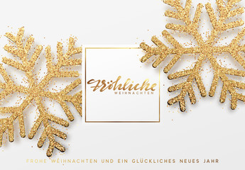 German text Frohliche Weihnachten. Christmas background with shining gold snowflakes. Xmas festive greeting card vector Illustration.