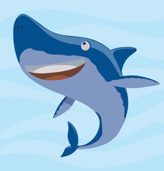 Vector image of cartoon funny cute blue shark on a light blue sea background. Sea life. Vector illustration.