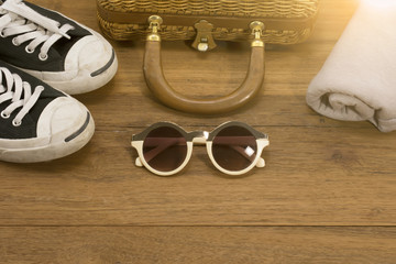 Top view of Traveler's accessories, Travel concept background