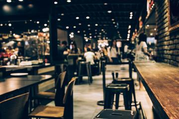Blur of in dark night cafe
