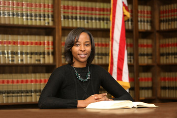 Portrait of a young attractive African American woman. Portrait of a woman attorney.