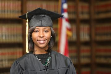 College graduate, young attractive African American female college graduate.