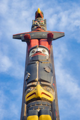 Ancient colorful Totem Pole in Duncan, British Columbia, Canada.