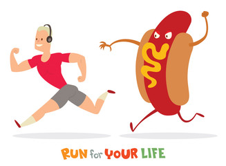 Vector cartoon image of a man with blond hair in a pink t-shirt and gray shorts runaway from a huge colored Hot Dog on a white background. In the theme of a healthy lifestyle. Vector illustration.
