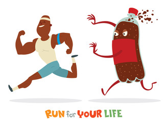Vector cartoon image of black bald man in white t-shirt blue shorts runaway from huge colored bottle of sweet fizzy drink on white background. In the theme of a healthy lifestyle. Vector illustration.