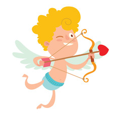 Keuken foto achterwand Sprookjeswereld Cartoon image of cute little cupid with yellow hair, light blue wings in blue panties flying to right with brown-red bow, arrow in his hands on a white background. Valentine's Day Vector illustration