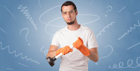 Swabber with orange rubber gloves