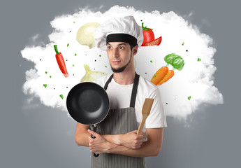 Vegetables on cloud with male cook