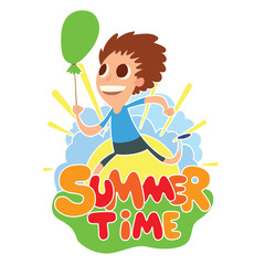 """Vector cartoon image of funny boy with brown hair with green balloon in hand running on the background of yellow sun with blue clouds, behind the colored lettering """"Summer time"""" on a white background."""