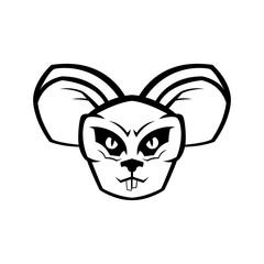 Line Angry Rat Head cartoon vector illustration