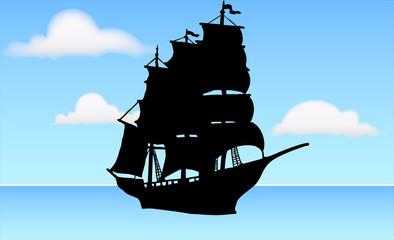 晴天に海を進む帆船のシルエット