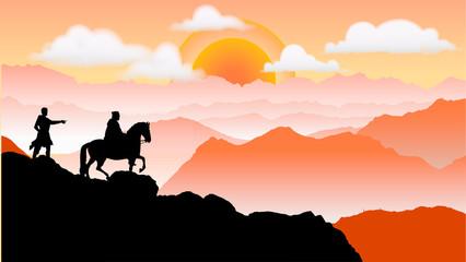 夕方山脈のシルエット