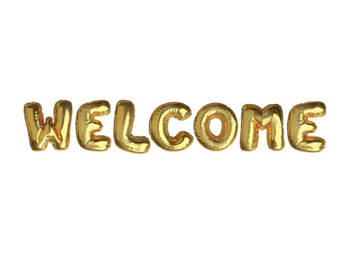 The isolated golden air balloon word WELCOME