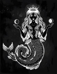 Beautiful magic mermaid queen with crown and moon.