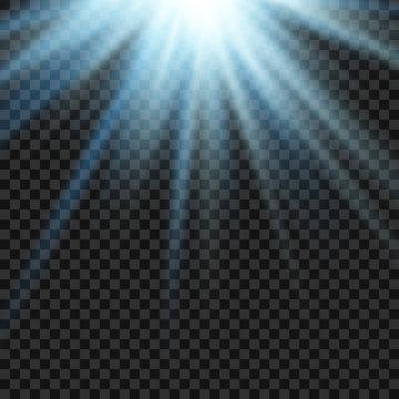 Vector sun light lens blue flare template