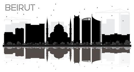 Beirut Lebanon City skyline black and white silhouette.