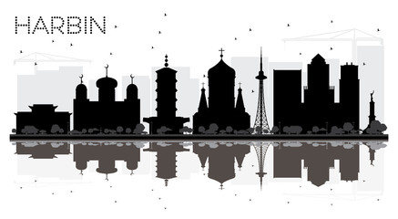 Harbin China City skyline black and white silhouette with Reflections.