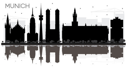 Munich Germany City skyline black and white silhouette with Reflections.