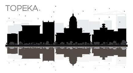 Topeka Kansas USA City skyline black and white silhouette.