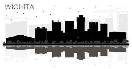 Wichita Kansas USA City skyline black and white silhouette.