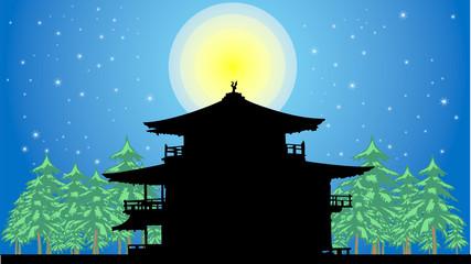 満月に浮かぶ金閣寺風お寺のシルエット