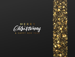 Christmas Background. Border made of stars and golden sparkle. Xmas greeting card. Vector Happy New Year