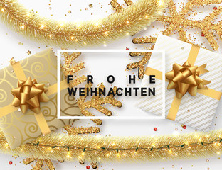 German text Frohe Weihnachten. Christmas background. Design illustration golden bright decorations, shining sparkles of snowflakes, gift box, gold tinsel and light garland. Xmas card vector