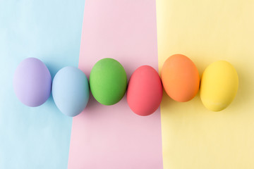 pastel easter eggs in top view