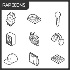 Rap outline isometric icons