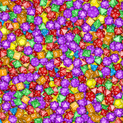 Role playing dice background / 3D illustration of hundreds of multicoloured polyhedral wargaming and role-playing dice