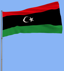 Isolate flag of Sudan on a flagpole fluttering in the wind on a transparent background, 3d rendering, PNG format with Alpha channel transparency