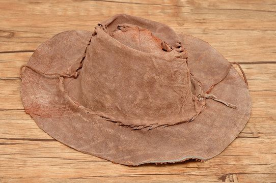 An old brown leather hat