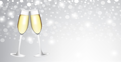 Two champagne glasses on blurred background, vector