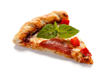 Pizza pepperoni with tomatoes, mushrooms and pepper