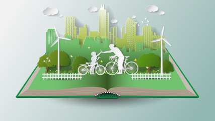 Paper folding art origami style vector illustration. Green renewable energy ecology technology power saving environmentally friendly concepts, father son join hands cycling in parks near city on book