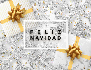Spanish lettering Feliz Navidad. Christmas background with gifts box and shining silver snowflakes. Xmas Greeting card. Vector Illustration.