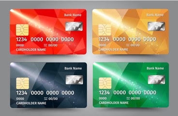 Realistic detailed credit cards set with colorful triangular design background.