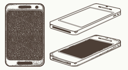 Mobile phone hand drawn vector. Modern smartphone mock up