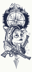 Mexican criminal tattoo art and t-shirt design. Wild west woman, compass and mountains tattoo. Santa muerte girl. Sugar Skull. Santa Muerte mexican woman, old revolvers, crime scene