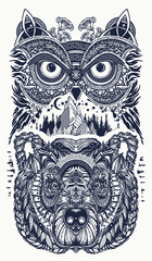 Owl and bear  tattoo art. Owl, mountains in ethnic celtic style t-shirt design. Owl and tribal bear tattoo symbol of wisdom, meditation, thinking, tourism, adventure