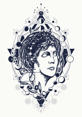 Magic woman goddess Aphrodite tattoo. Symbol of knowledge, poetry, science, philosophy, psychology. Scientist tattoo and t-shirt design. Science and education tattoo. Statue of Aphrodite
