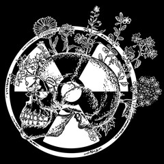 Atomic skull tattoo and t-shirt design. Symbol of radiation, apocalypse, nuclear war, end of world, dangers of nuclear energy