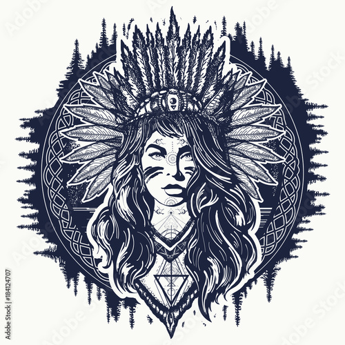 Tribal Indian Woman Tattoo And T Shirt Design Native American Woman