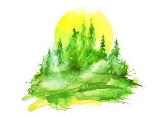Watercolor painting, picture, landscape - forest, nature, tree. Green, summer trees, fir, pine, yellow sun. It can be used as logo, card, illustration.