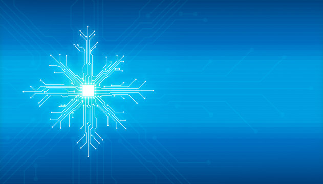 Abstract digital illustration of microchip board on snowflake shape on blue background. Technology concept image. Happy new year and merry christmas card.