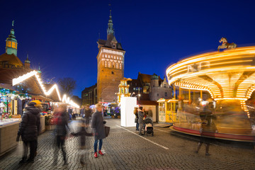 Traditional Christmas fair in the old town of Gdansk, Poland