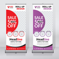 Roll up banner design print template