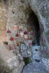 Ancient icons in the cave of the monastery in Meteora, Greece
