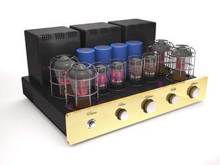Vintage tube amplifier (3d illustration).